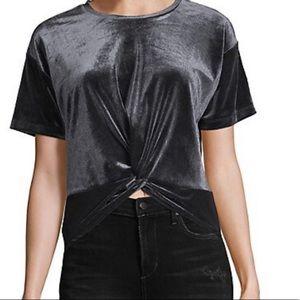 NWT Design Lab Knot Front Velvet T-Shirt size M